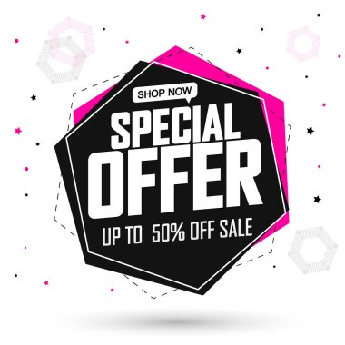 Special Offer, big sale banner design template, up to 50% off, discount tag, app icon, vector illustration