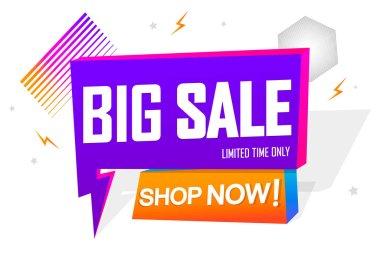 Big Sale, tag design template, Flash discount speech bubble banner, app icon, vector illustration