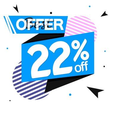 Sale 22% off tag, discount banner design template, vector illustration