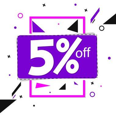 Sale 5% off tag, discount banner design template, vector illustration