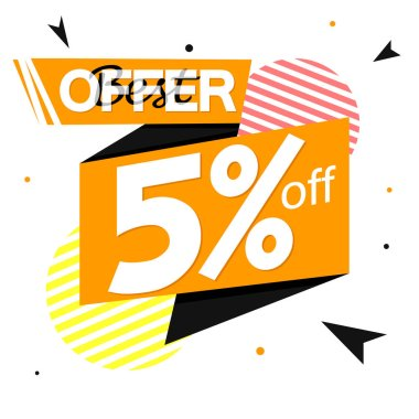 Sale 5% off tag, discount banner design template, vector illustration