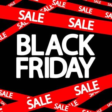 Black Friday Sale, red ribbon, poster design template, final season offer, vector illustration