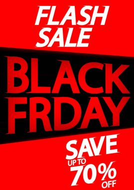 Black Friday, Flash Sale poster design template, save 70% off, final offer, vector illustration