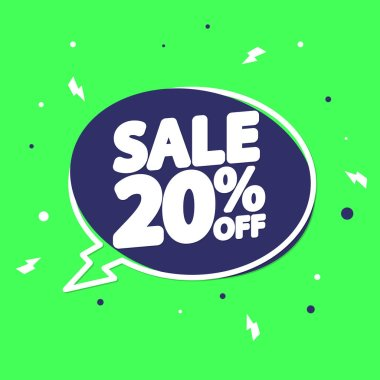 Flash Sale 20% off tag, speech bubble banner design template, discount tag, app icon, vector illustration