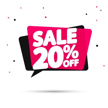 Sale 20% off tag, speech bubble banner design template, discount tag, app icon, vector illustration