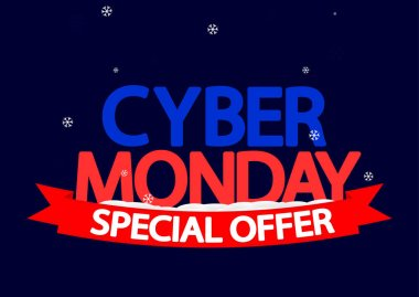 Cyber Monday, sale poster design template, red ribbon, special offer, vector illustration