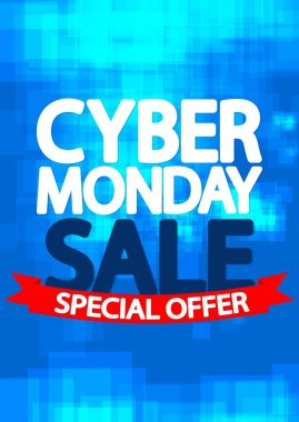 Cyber Monday Sale, poster design template, red ribbon, special offer, vector illustration