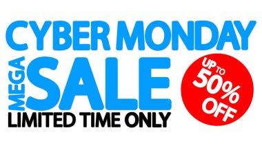 Cyber Monday, Sale up to 50% off, horizontal promo poster design template, mega offer, final deal, vector illustration