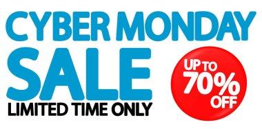 Cyber Monday, Sale up to 70% off, horizontal promo poster design template, mega offer, final deal, vector illustration