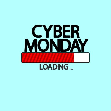 Cyber Monday Sale, progress loading bar design template, vector illustration