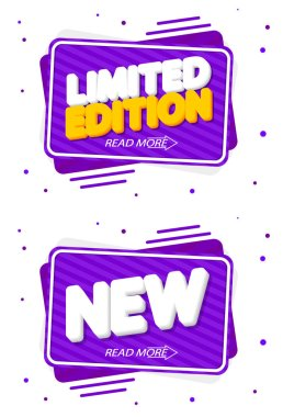 Set tags, Limited Edition and New, banners design template, vector illustration