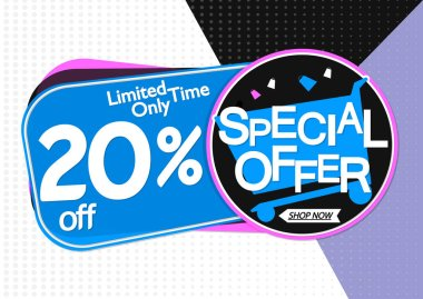 Special Offer, sale banner design template, discount 20% off, promo tag, app icon, vector illustration