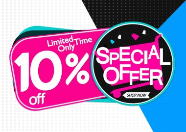 Special Offer, sale banner design template, discount 10% off, promo tag, app icon, vector illustration