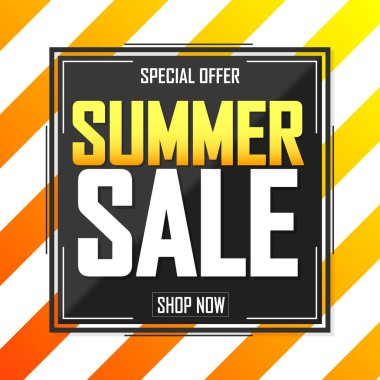 Summer Sale, poster design template, special offer, vector illustration