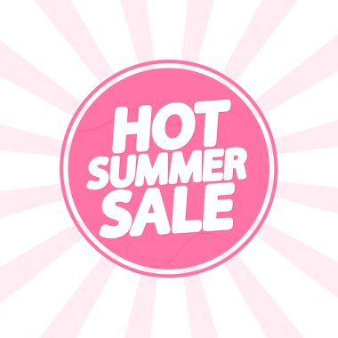 Hot Summer Sale, banner design template, discount tag, app icon, vector illustration