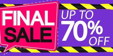Final Sale, up to 70% off, horizontal poster design template, super offer, discount web banner, vector illustration