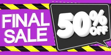 Final Sale, up to 50% off, horizontal poster design template, super offer, discount web banner, vector illustration