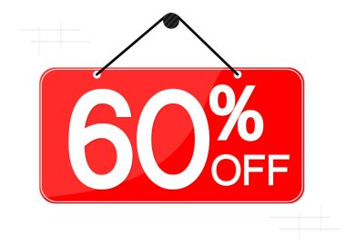 Sale 60% off, banner design template, discount tag, vector illustration