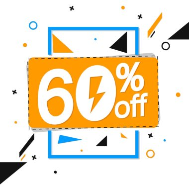 Flash Sale, 60% off, banner design template, discount tag, vector illustration