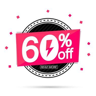 Flash Sale, 60% off, banner design template, discount tag, vector illustration