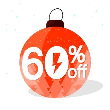 Christmas Sale, 60% off, Flash Xmas discount banner design template, mega offer tag, vector illustration