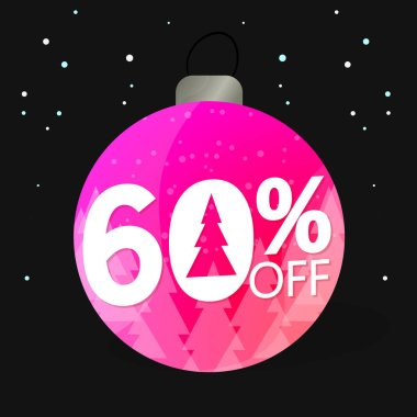 Christmas Sale, 60% off, Xmas discount banner design template, offer tag, vector illustration