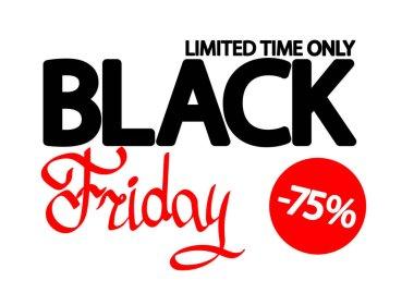 Black Friday Sale, poster design template, 75% off, vector illustration