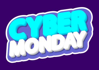 Cyber Monday, sale poster design template, isolated sticker, vector illustration