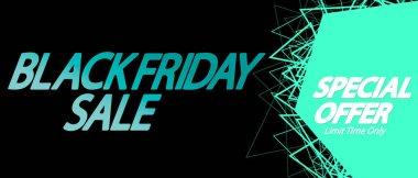 Black Friday Sale, horizontal poster design template, special offer, discount web banner, vector illustration