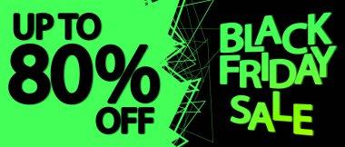 Black Friday Sale, up to 80% off,  horizontal poster design template, final offer, discount web banner, vector illustration