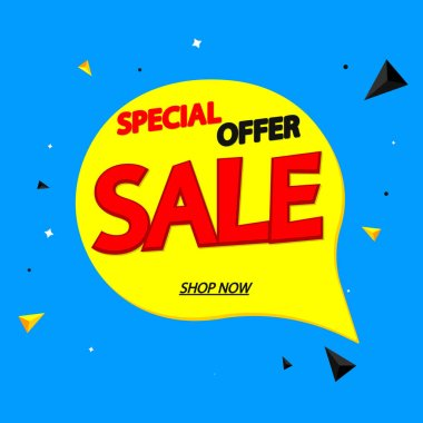 Sale speech bubble banner design template, special offer, discount tag, app icon, vector illustration