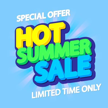 Hot Summer Sale, poster design template, special offer, vector illustration