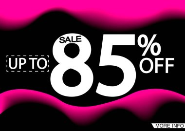 Sale up to 85% off, poster design template, discount banner, vector illustration