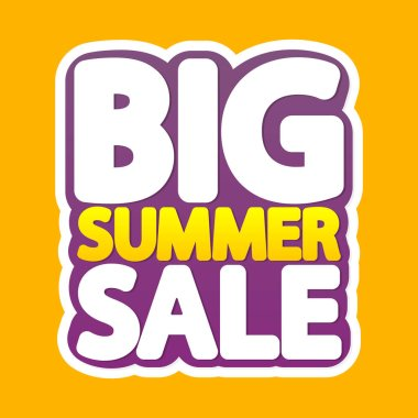 Big Summer Sale, poster design template, isolated sticker, vector illustration
