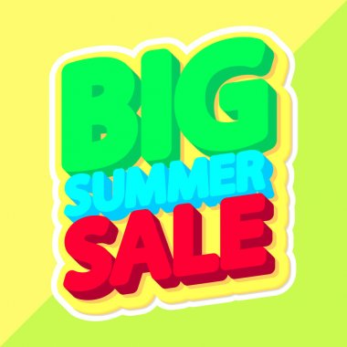 Big Summer Sale, poster design template, isolated sticker, vector illustration