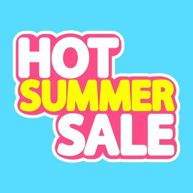 Hot Summer Sale, poster design template, isolated sticker, vector illustration