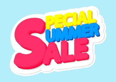 Special Summer Sale, poster design template, isolated sticker, vector illustration