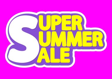 Super Summer Sale, poster design template, isolated sticker, vector illustration