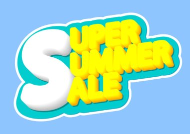 Super Summer Sale, poster design template, isolated sticker, vector illustration