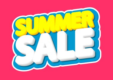Summer Sale, poster design template, isolated sticker, vector illustration