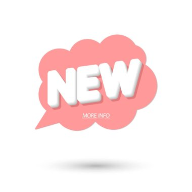 New banner design template, speech bubble promo tag, vector illustration