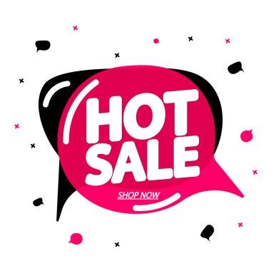 Hot Sale, tag design template, discount speech bubble banner, app icon, vector illustration