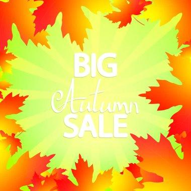 Big Autumn Sale, poster design template, Fall offer, great deal, mega season discount banner, vector illustration