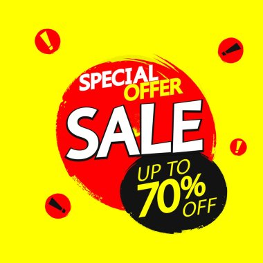 Sale up to 70% off, banner design template, discount tag, grunge brush, special offer, vector illustration