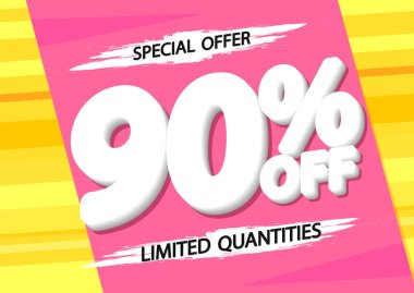 Sale up to 90% off, poster design template, special offer, vector illustration
