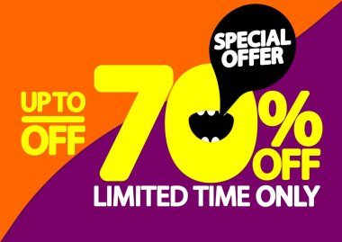 Sale up to 70% off, poster design template, special offer, vector illustration