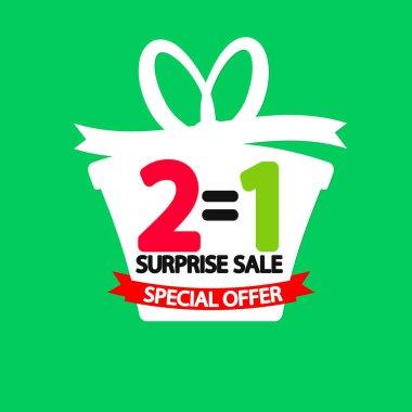 Buy 1 Get 1 Free, Sale poster design template, BOGO, surprise sale, special offer, vector illustration