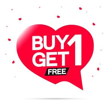 Buy 1 Get 1 Free, BOGO sale banner design template, discount speech bubble tag, vector illustration