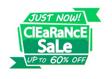 Clearance Sale, up to 60% off, banner design template, discount tag, just now, vector illustration