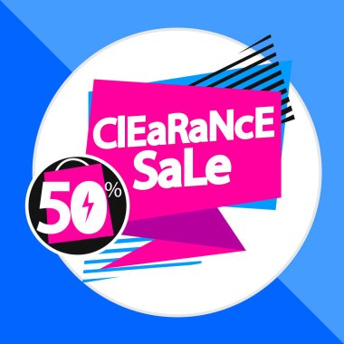 Clearance Sale 50% off, banner design template, discount tag, vector illustration